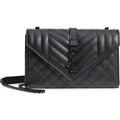 Saint Laurent Small Cassandre Leather Shoulder Bag - Black