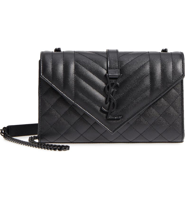 SAINT LAURENT Small Cassandre Leather Shoulder Bag, Main, color, NERO/ NERO/ NERO