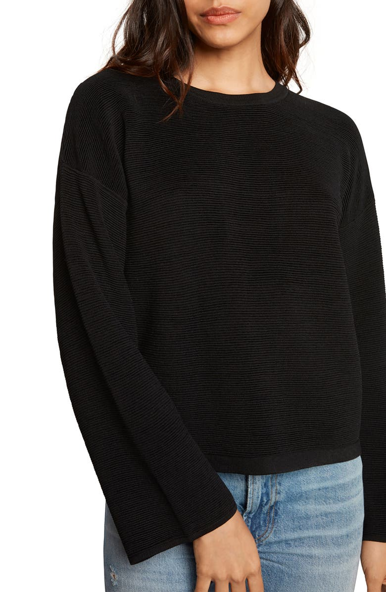 WILLOW & CLAY Cutout Ribbed Sweater, Main, color, 001