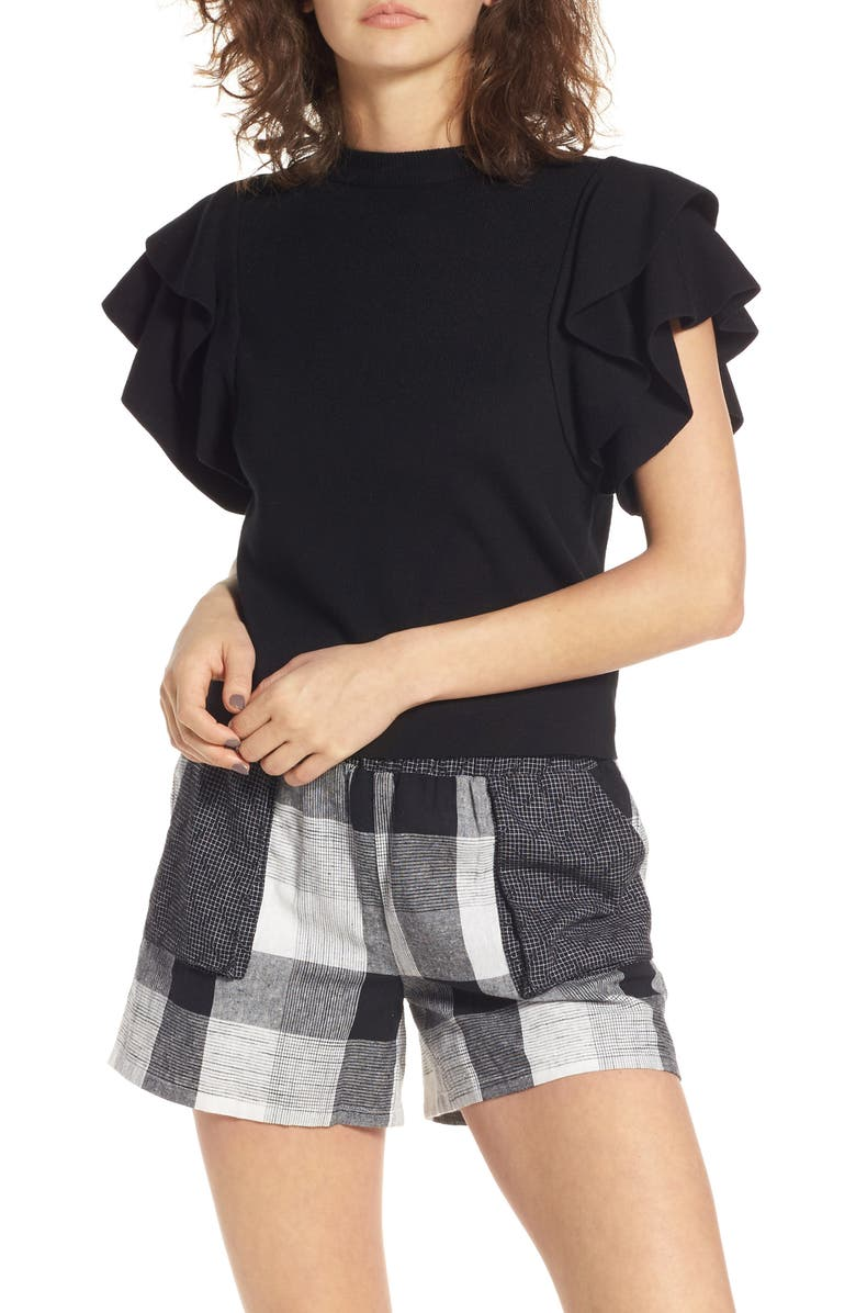 MOON RIVER Ruffle Sleeve Crop Top, Main, color, 001