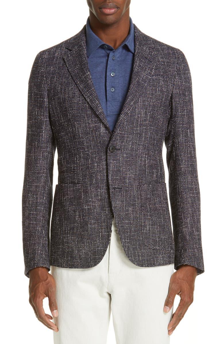 Z ZEGNA Trim Fit Check Wool Blend Sport Coat, Main, color, 416