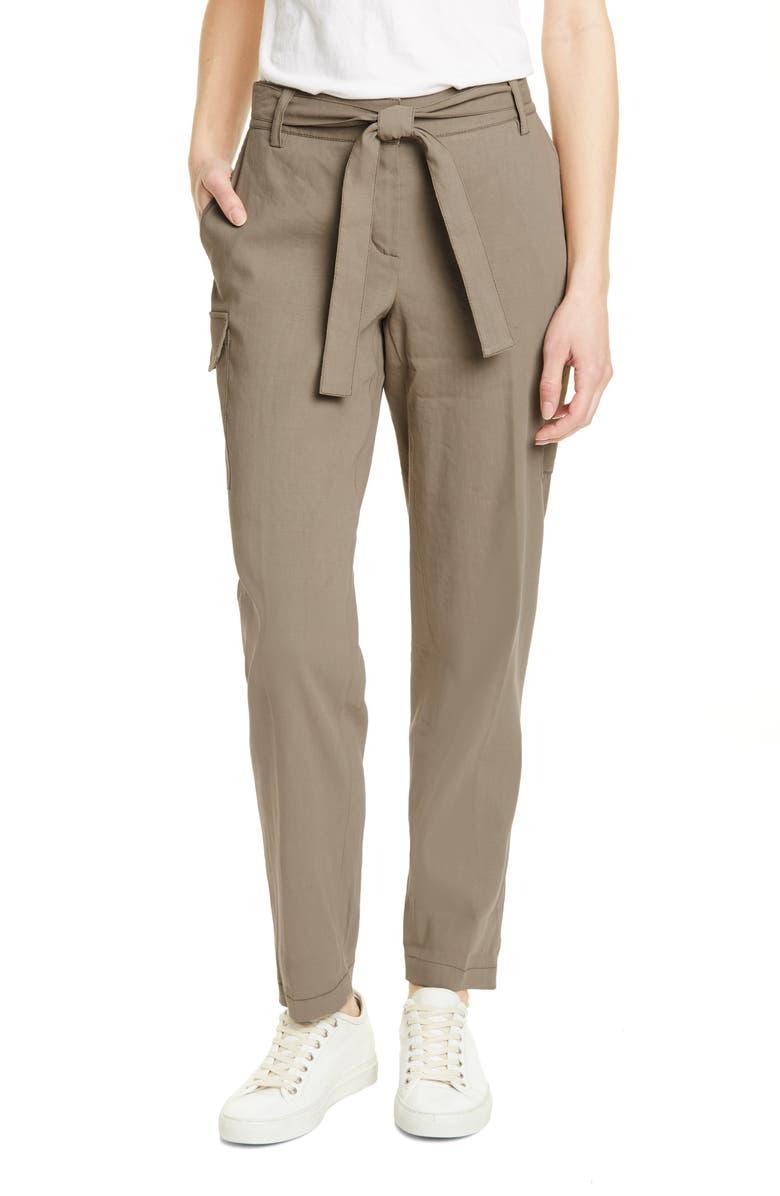 NORDSTROM SIGNATURE Belted Linen Blend Pants, Main, color, OLIVE SILVER