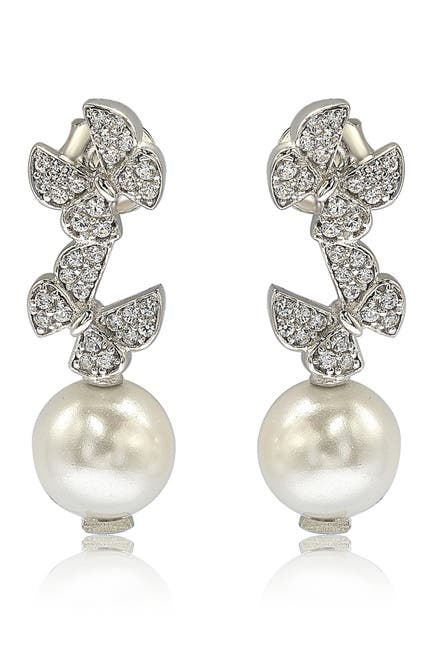 Image of Suzy Levian Sterling Silver CZ Pave 8mm Cultured Freshwater Pearl Butterfly Shape Drop Earrings