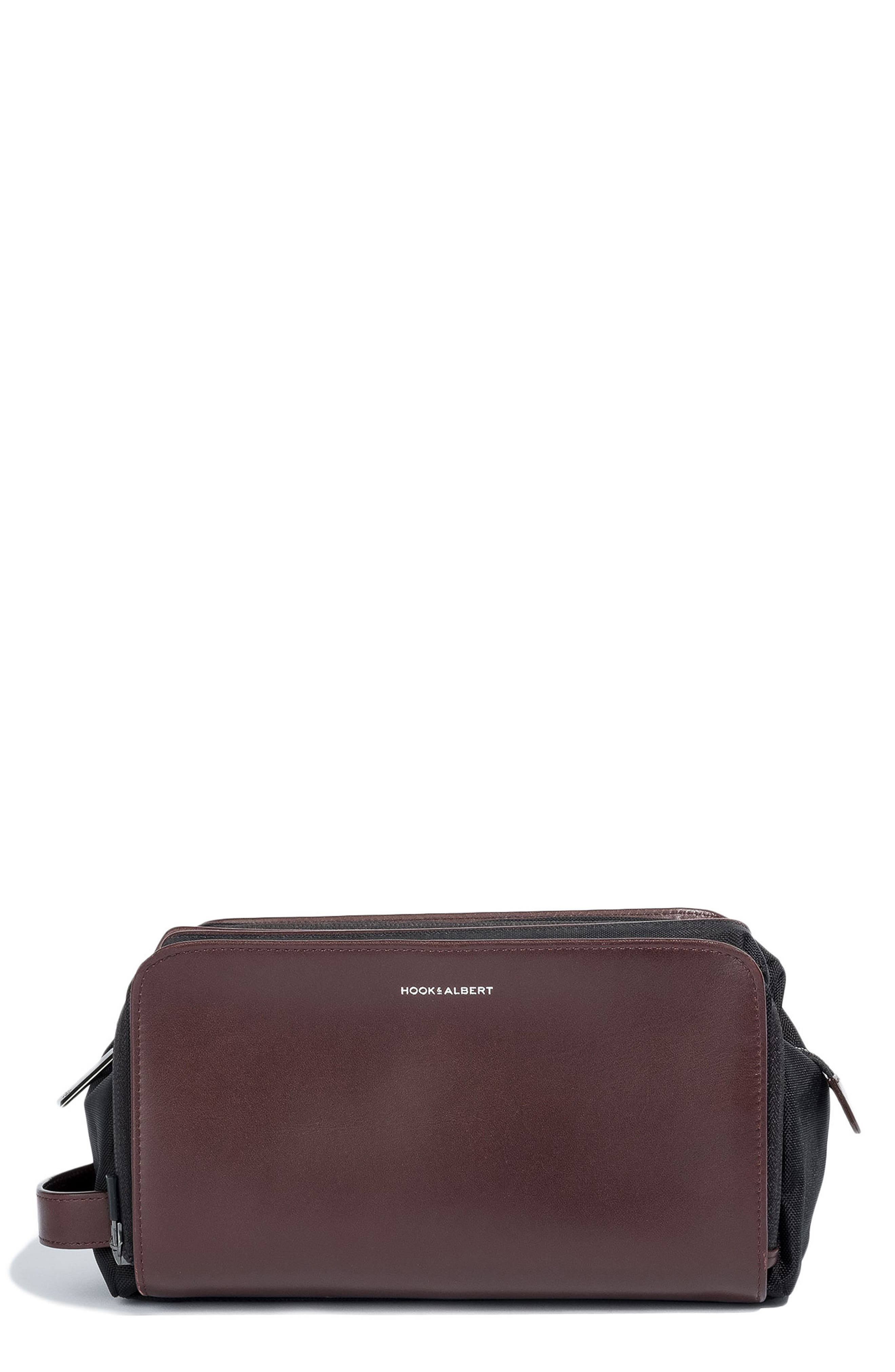 Leather Travel Kit, Main, color, BROWN