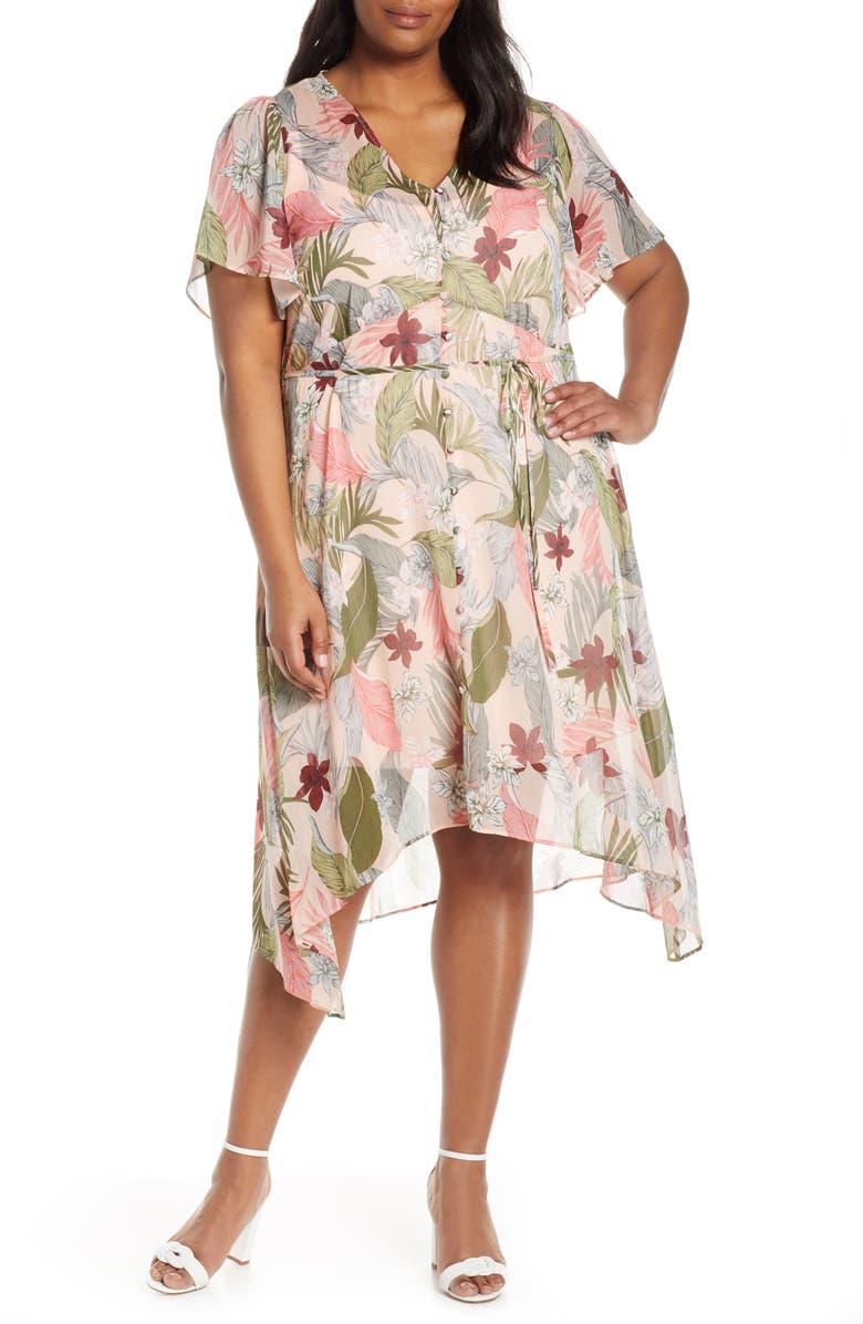 ESTELLE Havana Floral Handkerchief Hem Dress, Main, color, PINK/ KHAKI