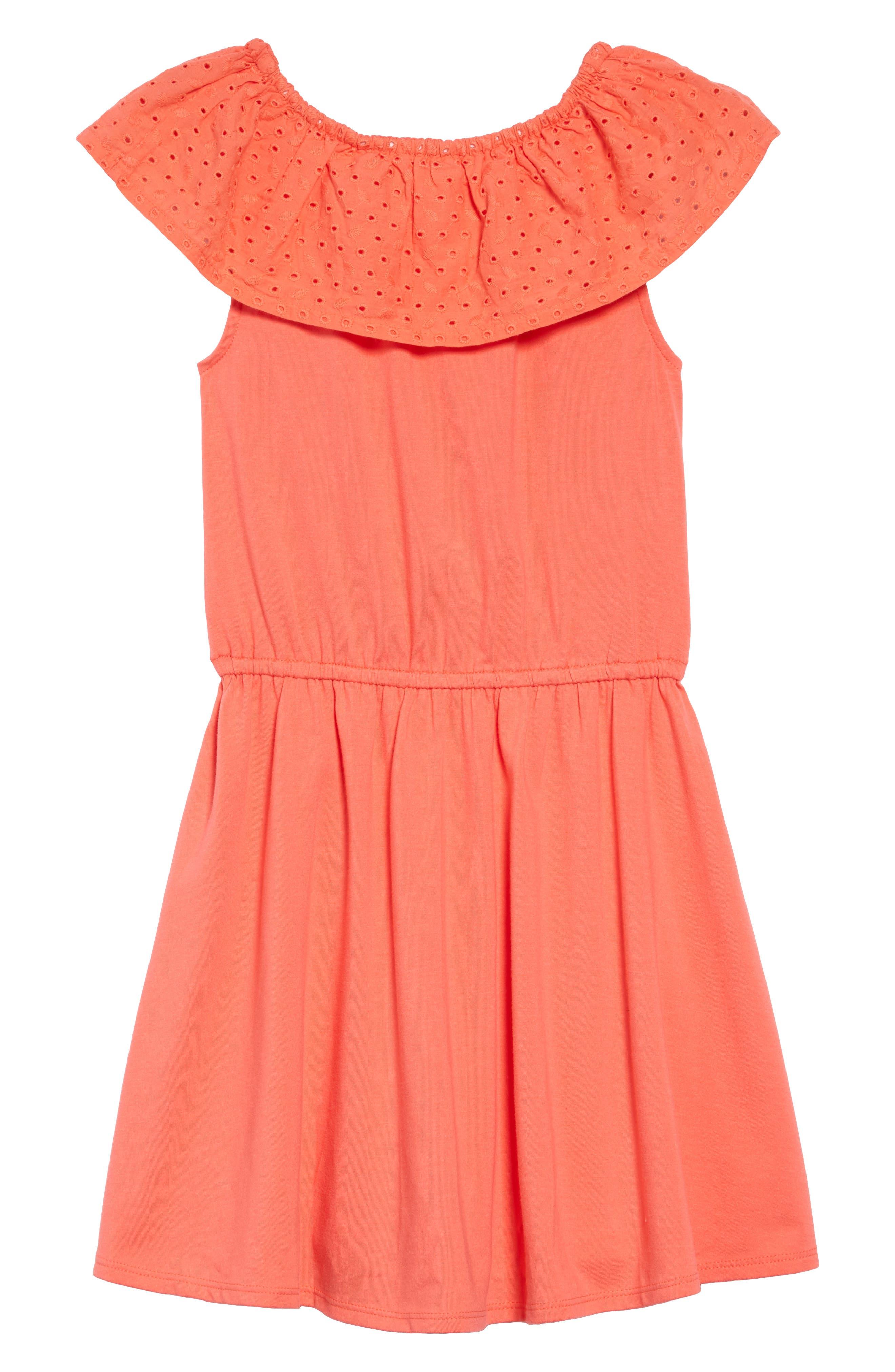 ,                             Eyelet Ruffle Knit Dress,                             Alternate thumbnail 2, color,                             CORAL GLOW