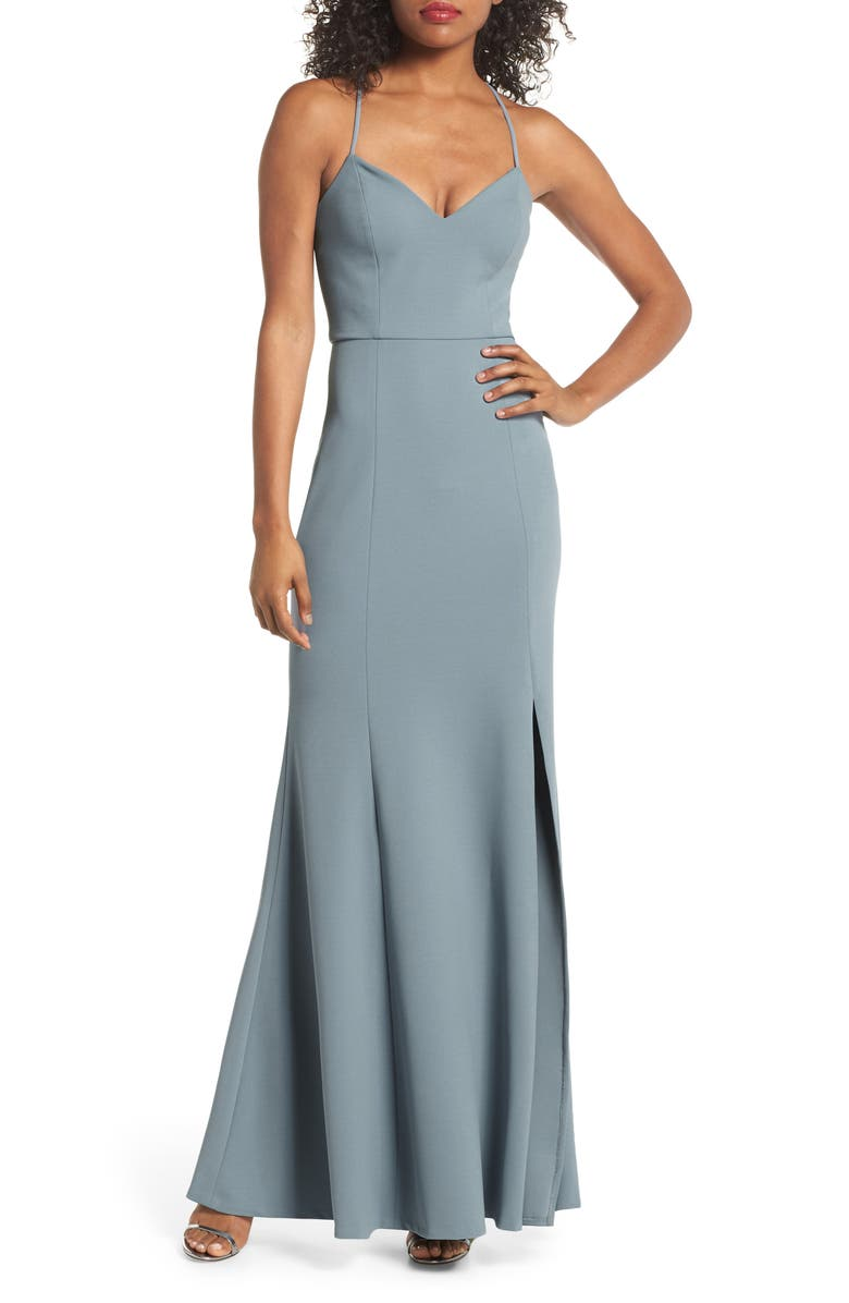 JENNY YOO Reese Crepe Knit Gown, Main, color, MAYAN BLUE