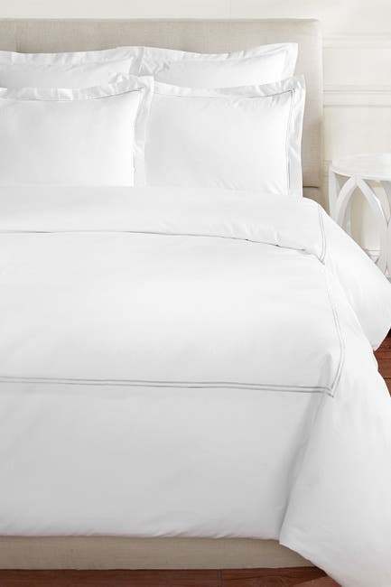 Image of Melange Home Full/Queen 600 Thread Count Cotton 2 Stripe Embroidered Duvet Set
