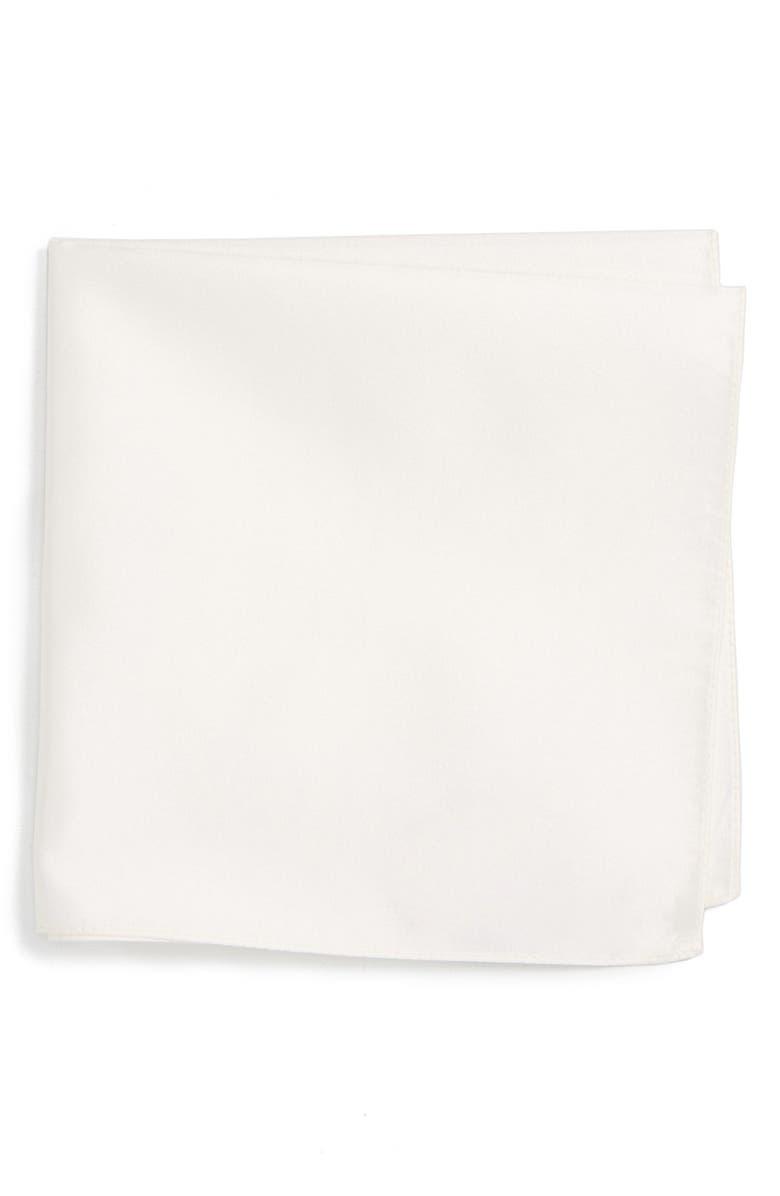 BOSS Solid Silk Pocket Square, Main, color, 100