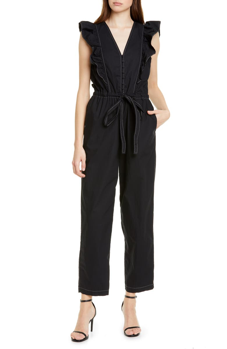 LA VIE REBECCA TAYLOR Topstitch Detail Cotton Poplin Jumpsuit, Main, color, 001