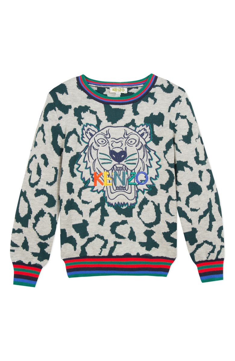 KENZO Tiger Embroidered Sweater, Main, color, DARK GREEN