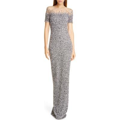Pamella Roland Snow Leopard Crunchy Sequin Gown, Grey