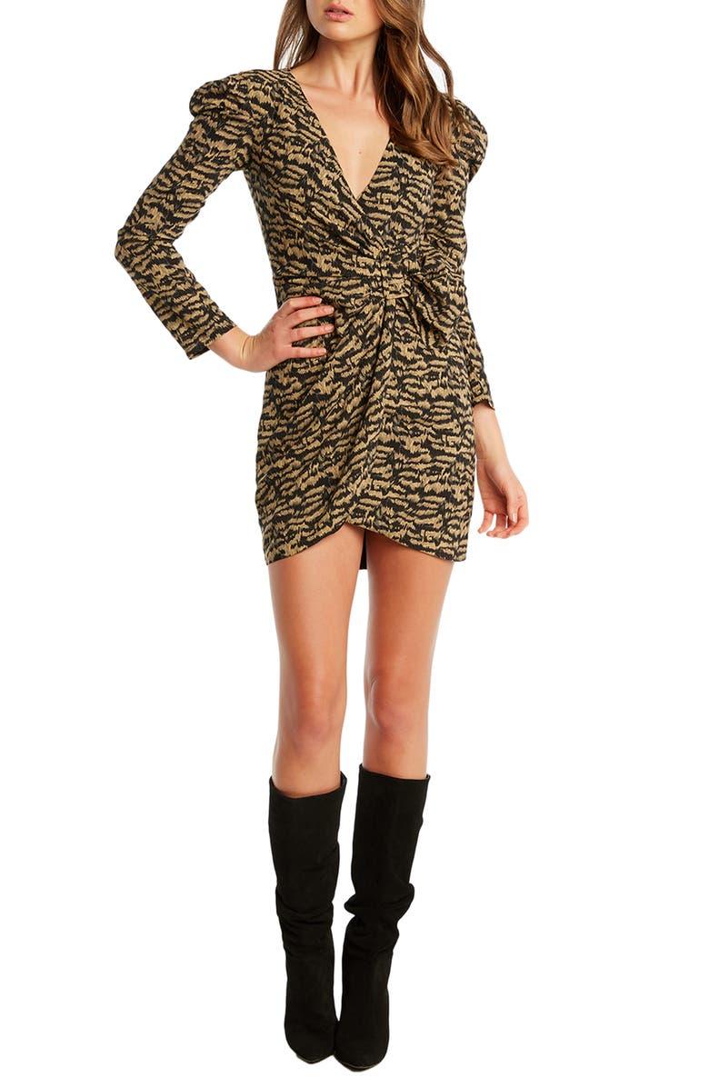 BARDOT Bardo Tracey Twist Long Sleeve Minidress, Main, color, 243
