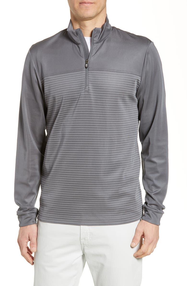 CUTTER & BUCK Traverse Regular Fit Stripe Quarter Zip Pullover, Main, color, ELEMENTAL GREY