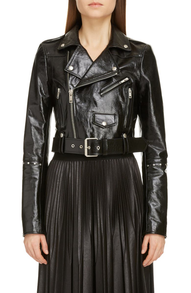 GIVENCHY Studded Crop Leather Biker Jacket, Main, color, Black