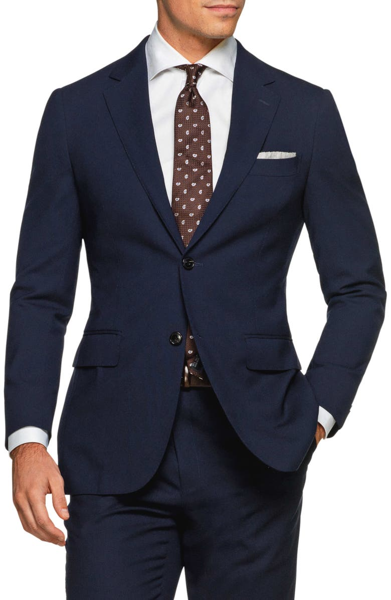 SUITSUPPLY Traveler Havana Slim Fit Navy Wool Blazer, Main, color, NAVY