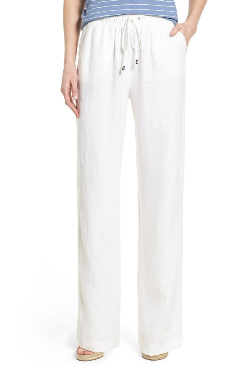 VINCE CAMUTO Linen Wide Leg Drawstring Pants, Main, color, 145