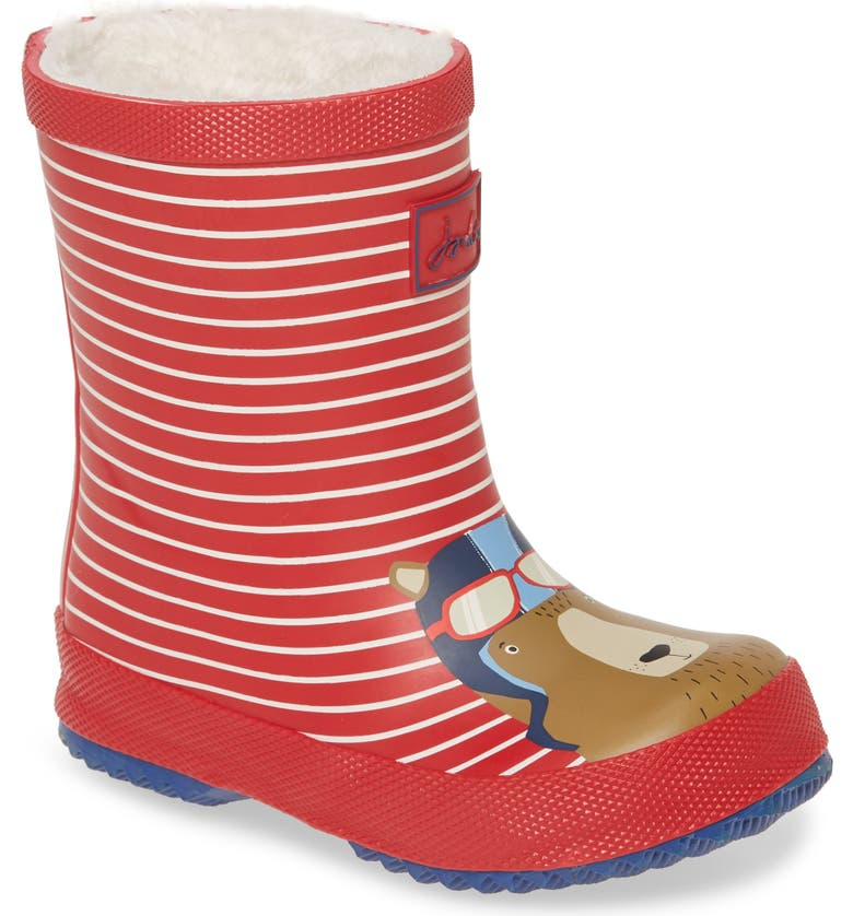 JOULES Print Welly Waterproof Rain Boot, Main, color, RED BEAR