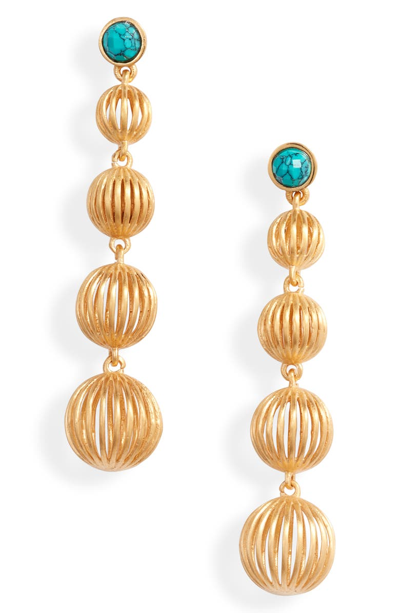 DEAN DAVIDSON Savannah Collection Drop Earrings, Main, color, GOLD/ TURQUOISE