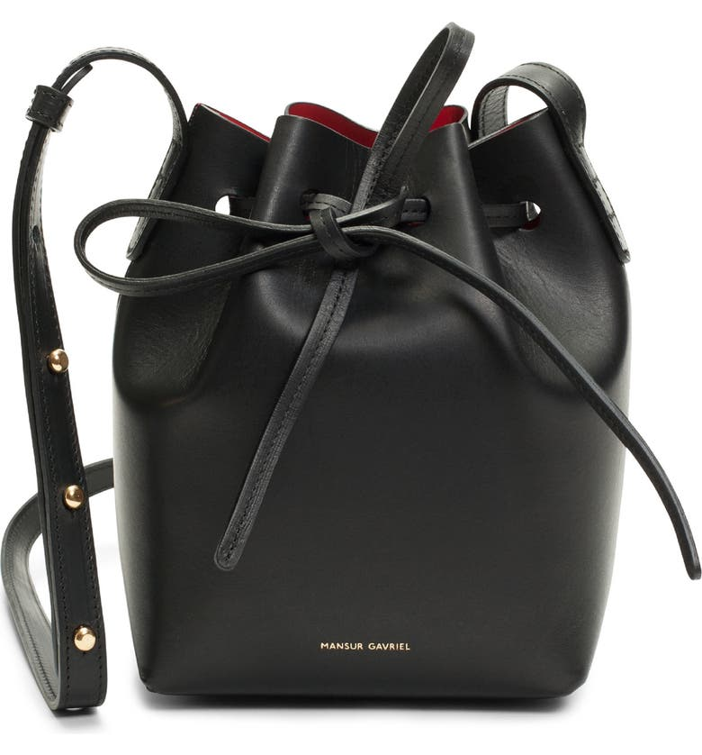 MANSUR GAVRIEL Mini Mini Leather Bucket Bag, Main, color, BLACK/ FLAMMA