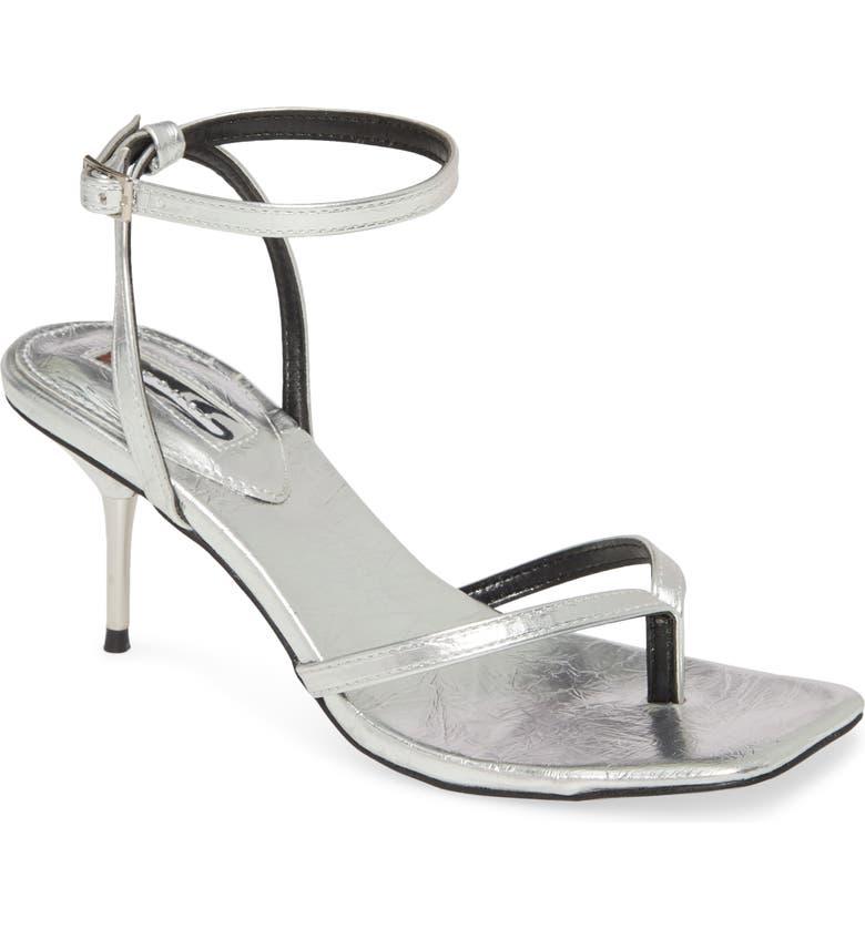TOPSHOP Radiant Ankle Strap Sandal, Main, color, SILVER