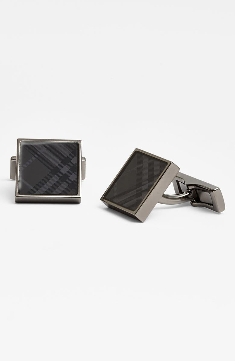 BURBERRY Square Check Cuff Links, Main, color, CHARCOAL CHECK