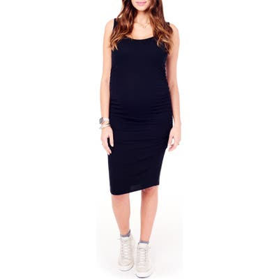 Ingrid & Isabel Shirred Midi Maternity Tank Dress, Black