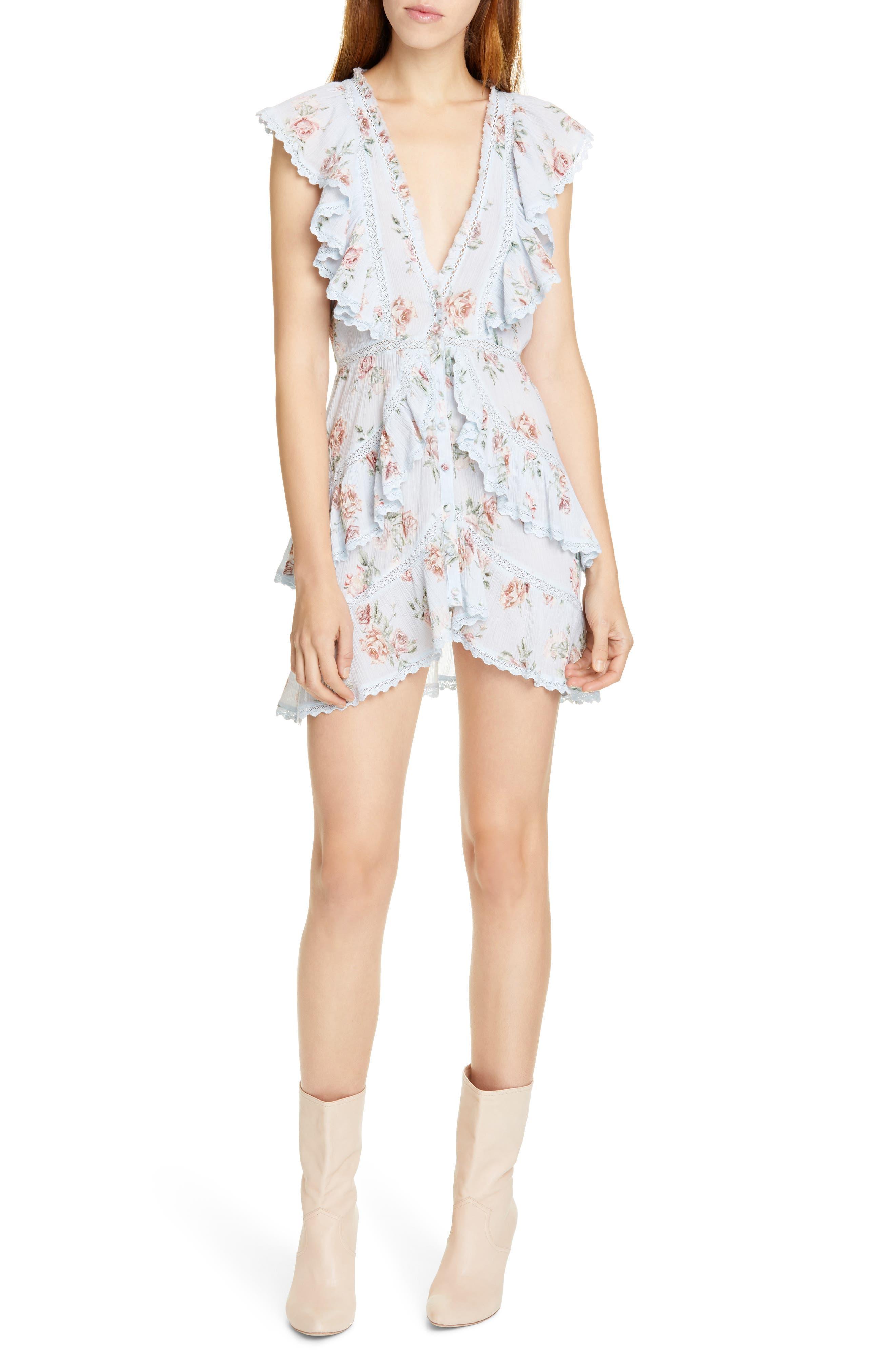 Loveshackfancy India Floral Lace & Ruffle Detail Cotton Minidress, Blue