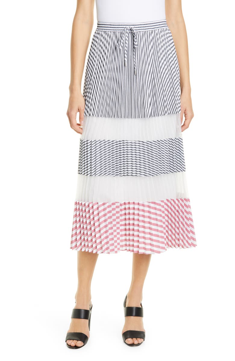 CLUB MONACO Haloney Pleated Skirt, Main, color, WHITE MULTI