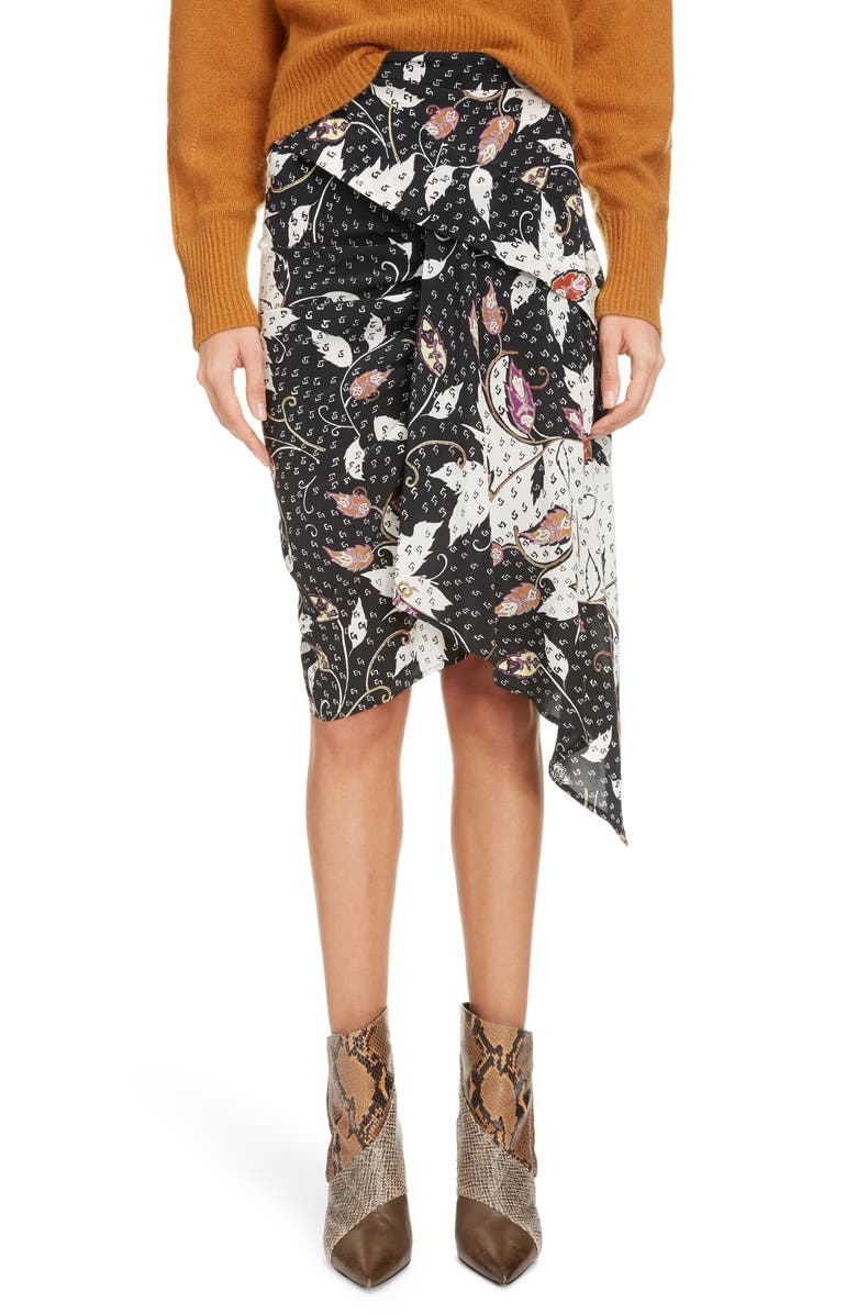 ISABEL MARANT Floral Print Drape Detail Stretch Silk Skirt, Main, color, BLACK
