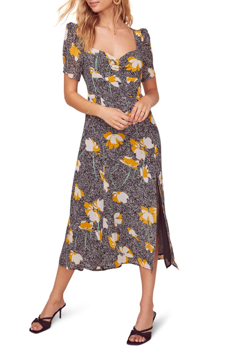 ASTR THE LABEL Zenn Floral Midi Dress, Main, color, BLACK/ MUSTARD FLORAL