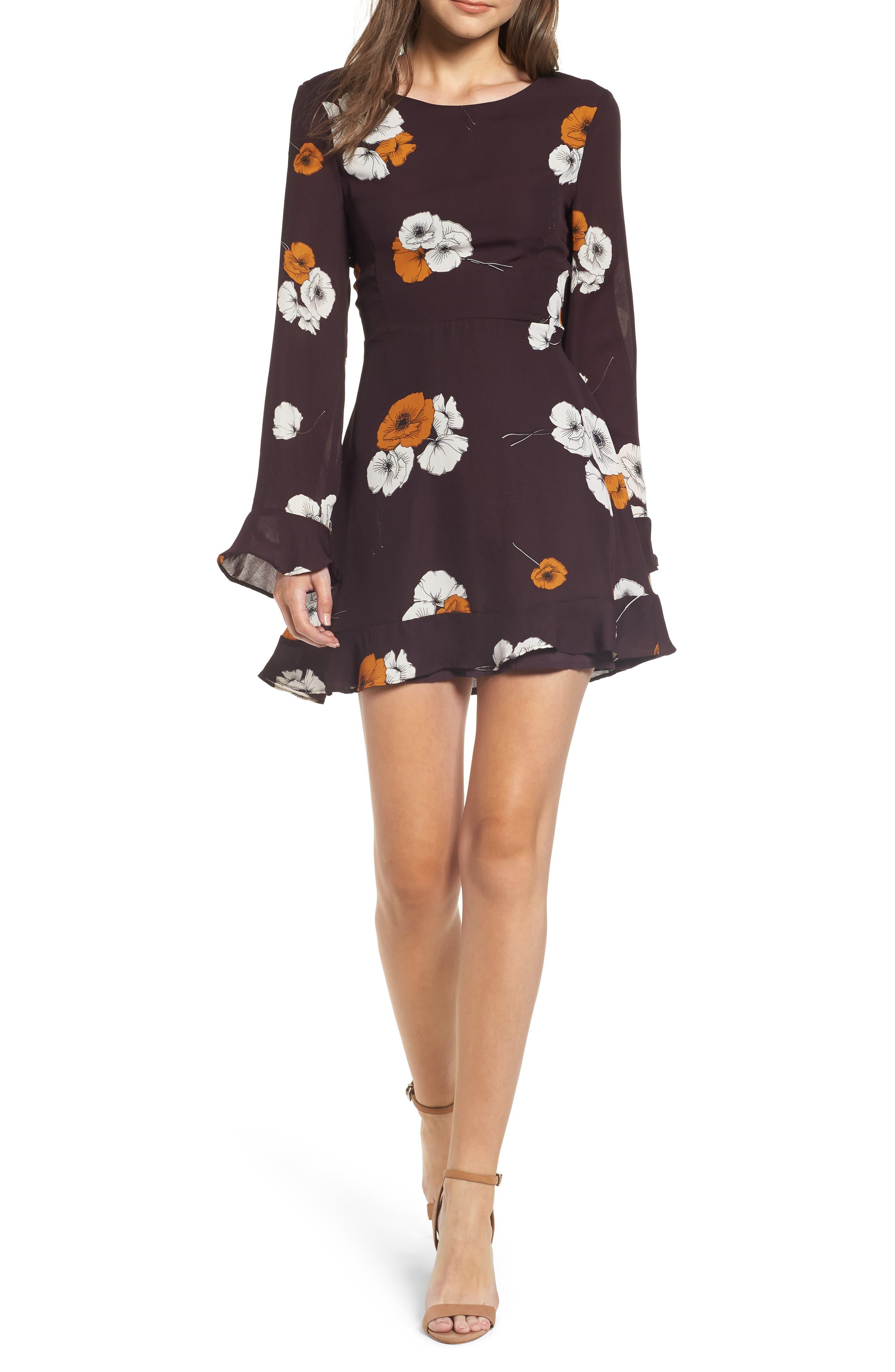 ,                             Leena Vintage Floral Dress,                             Main thumbnail 1, color,                             AUBERGINE
