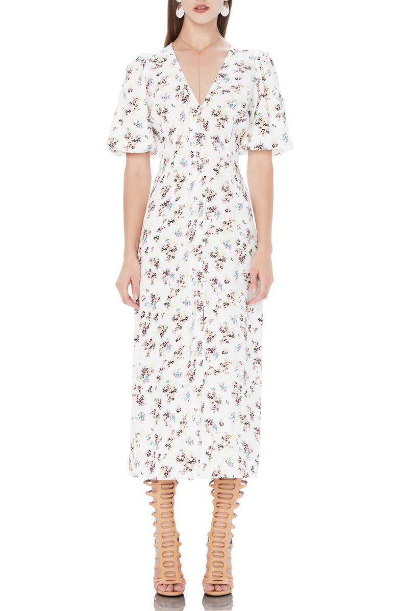 AFRM Jayne Button Detail Plunge Neck Dress, Main, color, NEON DITSY