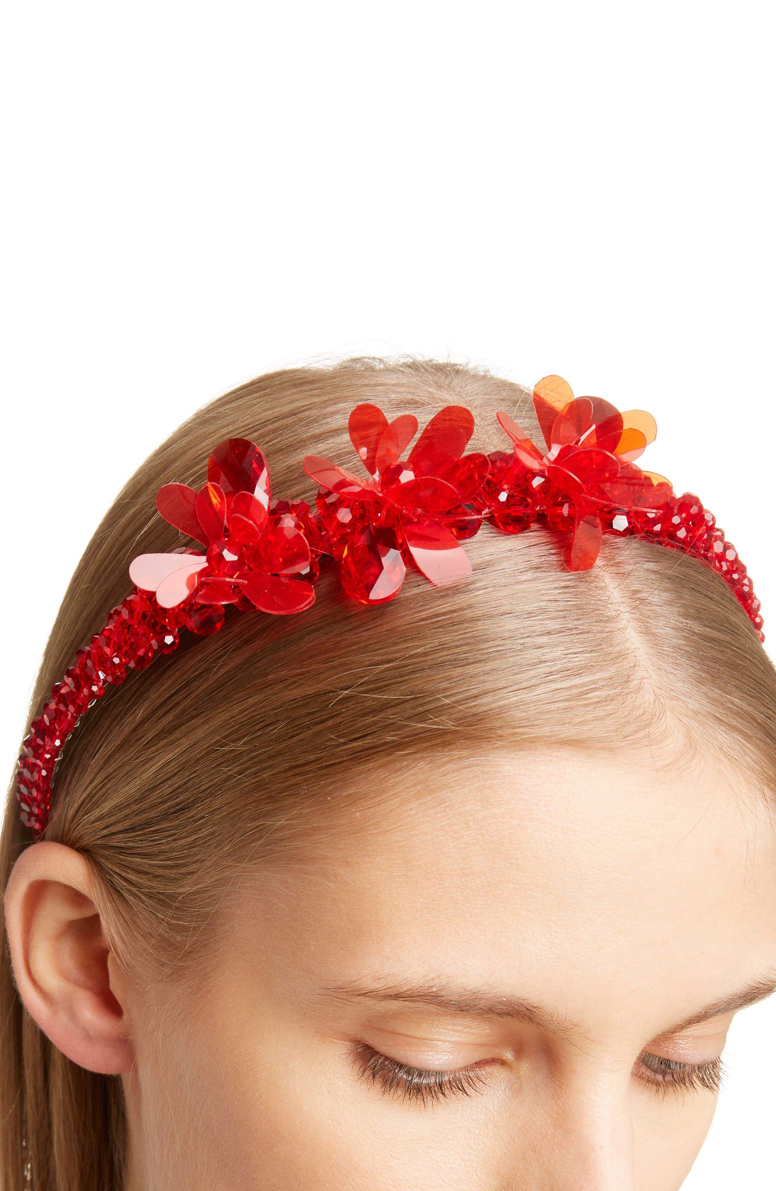 ,                             Crystal Tiara Headband,                             Alternate thumbnail 3, color,                             RED