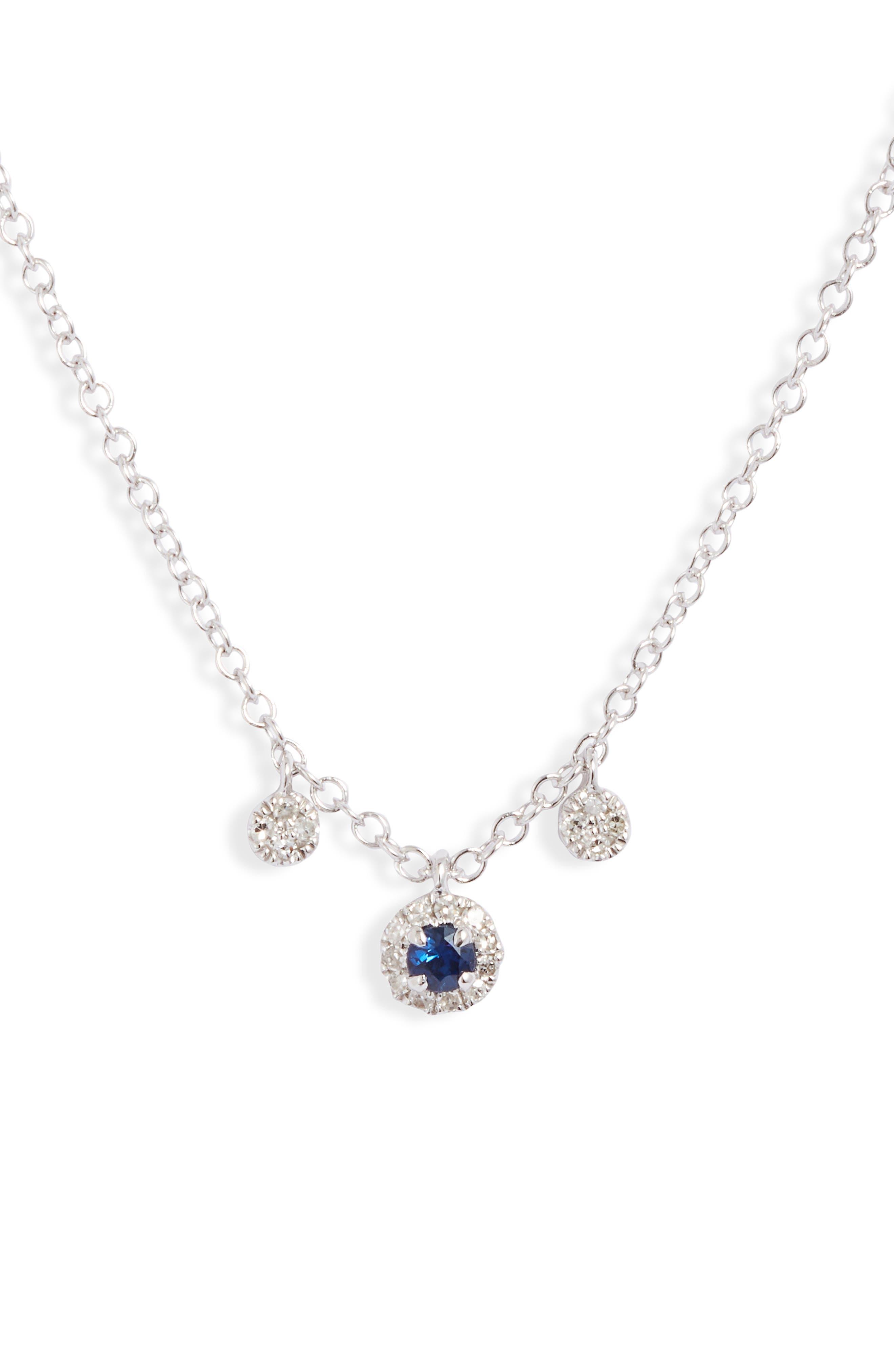 Blue Sapphire & Diamond Shaker Necklace