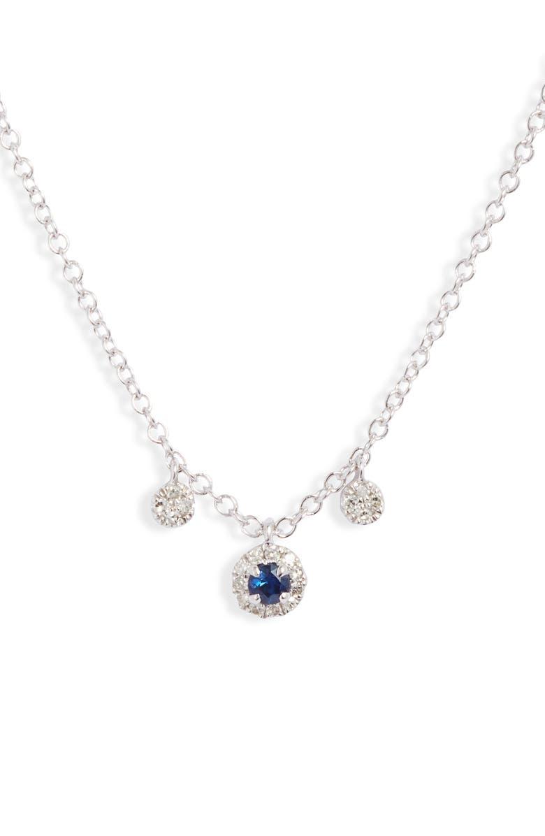 MEIRA T Blue Sapphire & Diamond Shaker Necklace, Main, color, WHITE GOLD/ SAPPHIRE