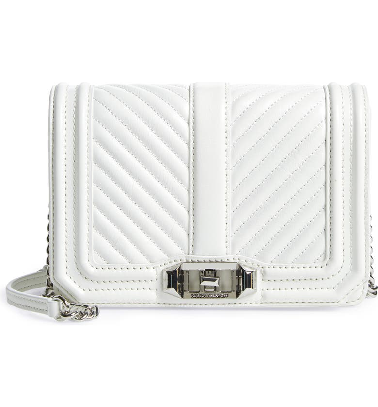 REBECCA MINKOFF Small Love Leather Crossbody Bag, Main, color, OPTIC WHITE