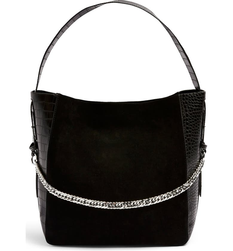 TOPSHOP Laurie Hobo Bag, Main, color, BLACK