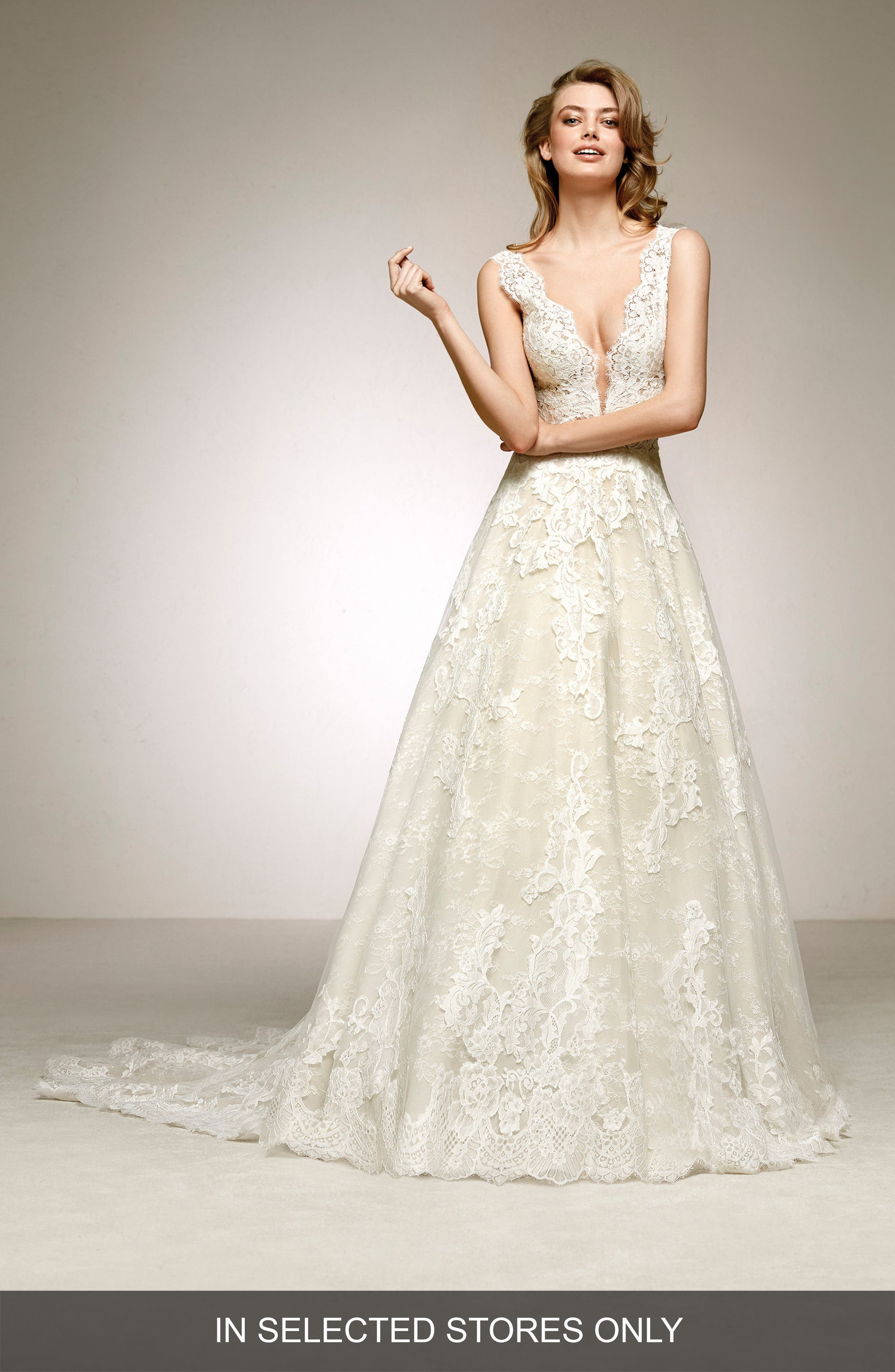 Pronovias Devany Plunge Lace A-Line Gown, Size IN STORE ONLY - Ivory