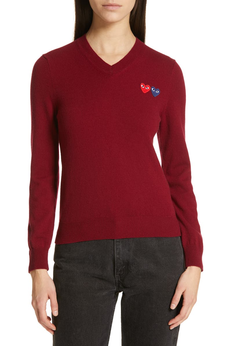 COMME DES GARÇONS PLAY Wool V-Neck Sweater, Main, color, BURGUNDY