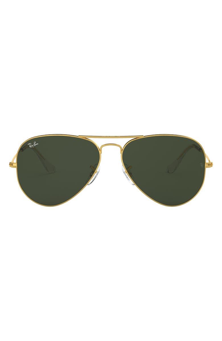 RAY-BAN Large Original 62mm Aviator Sunglasses, Main, color, GOLD/ GREEN