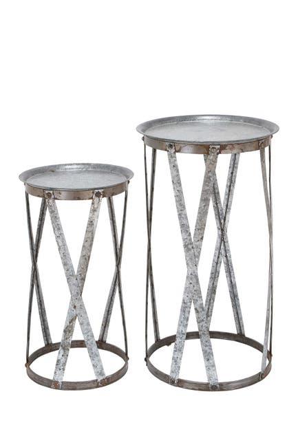 Image of Willow Row Galvanized Metal Round Pedestals - Set of 2