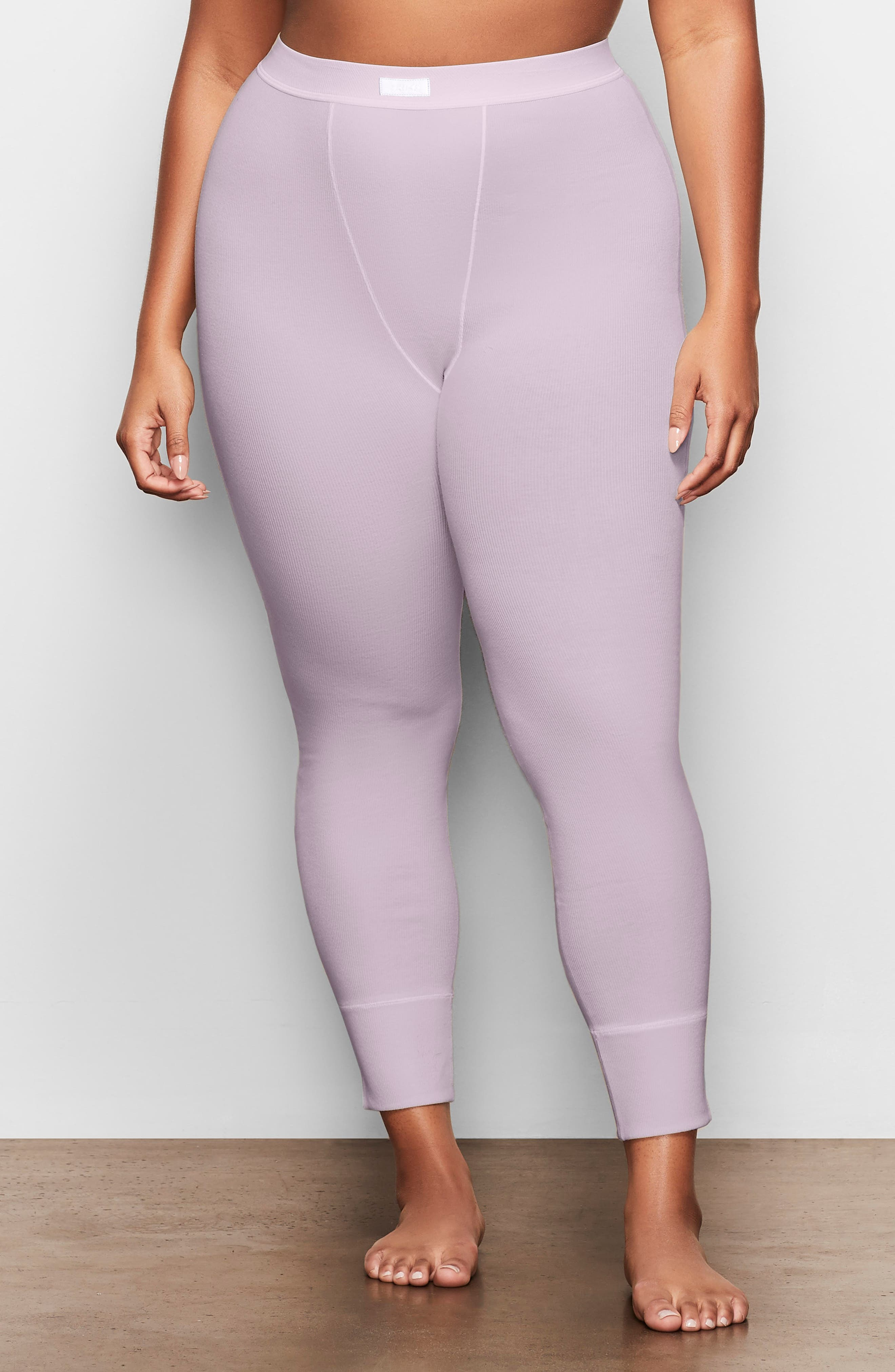 Soft thermal leggings that hug the body yet allow skin to breathe with ribbed stretch cotton are from Kim Kardashian West\\\'s highly sought-out SKIMS. Available in a range of five complementary colors, this comfortable style with a no-cut design and cover-stitch details, is destined to be a part of your regular lounge rotation. Style Name: Skims Cotton Rib Thermal Leggings (Regular & Plus Size). Style Number: 6016006. Available in stores.