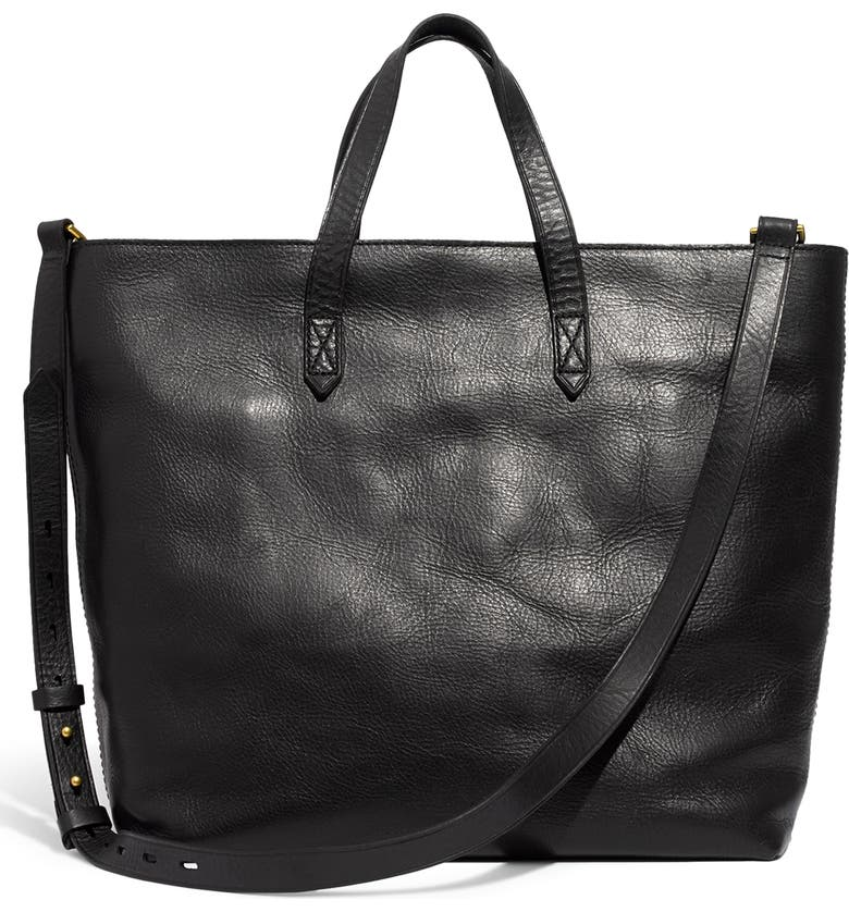 MADEWELL Zip Top Transport Leather Carryall, Main, color, TRUE BLACK