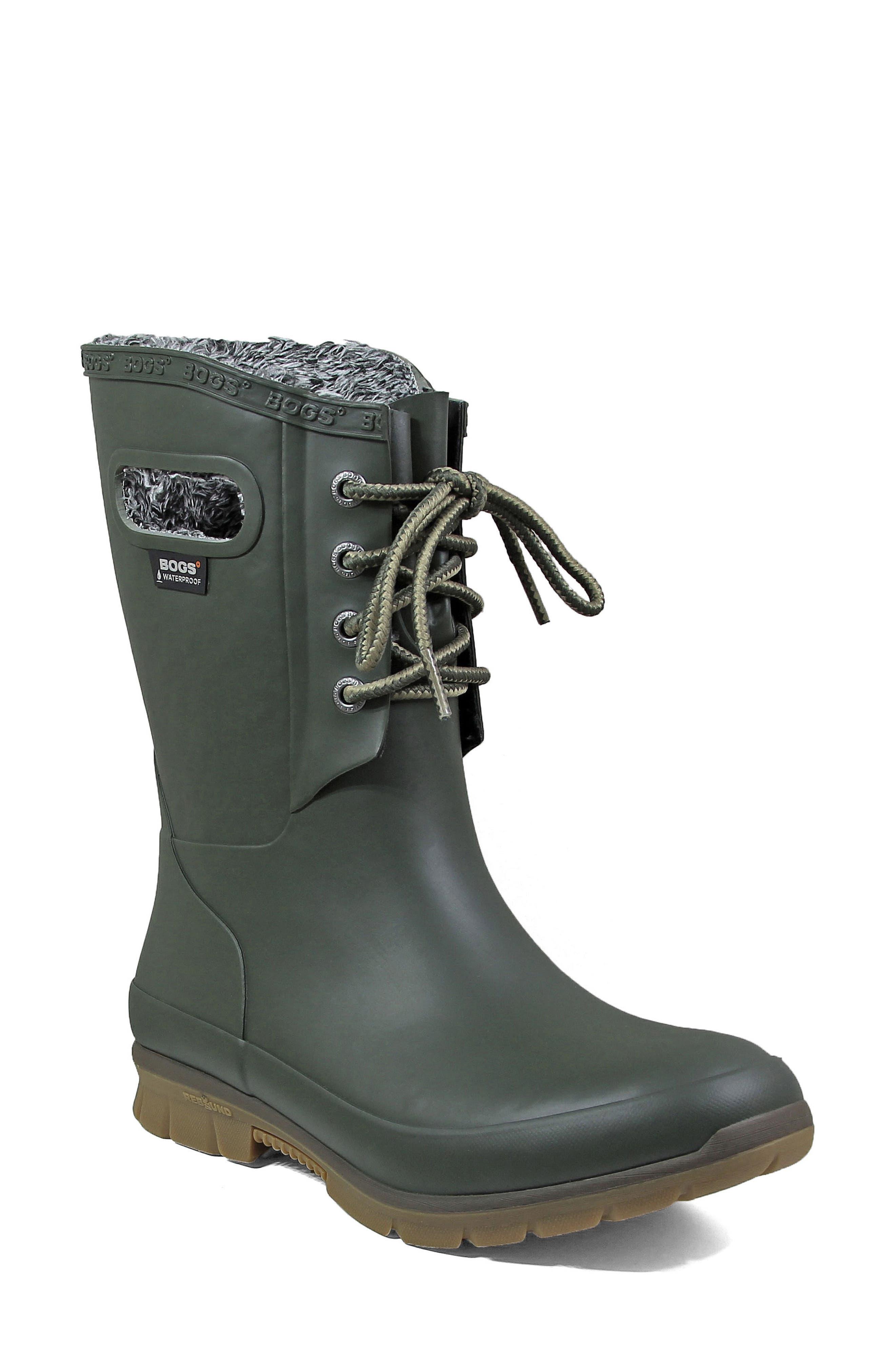 Bogs Amanda Plush Waterproof Rain Boot, Green