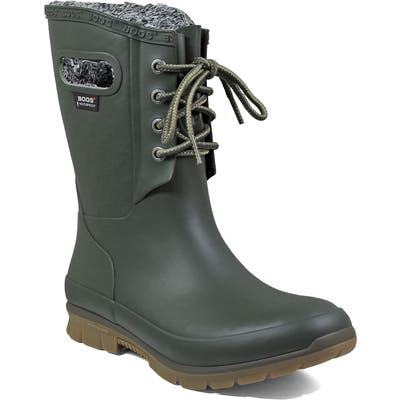 Bogs Amanda Plush Waterproof Rain Boot, Green