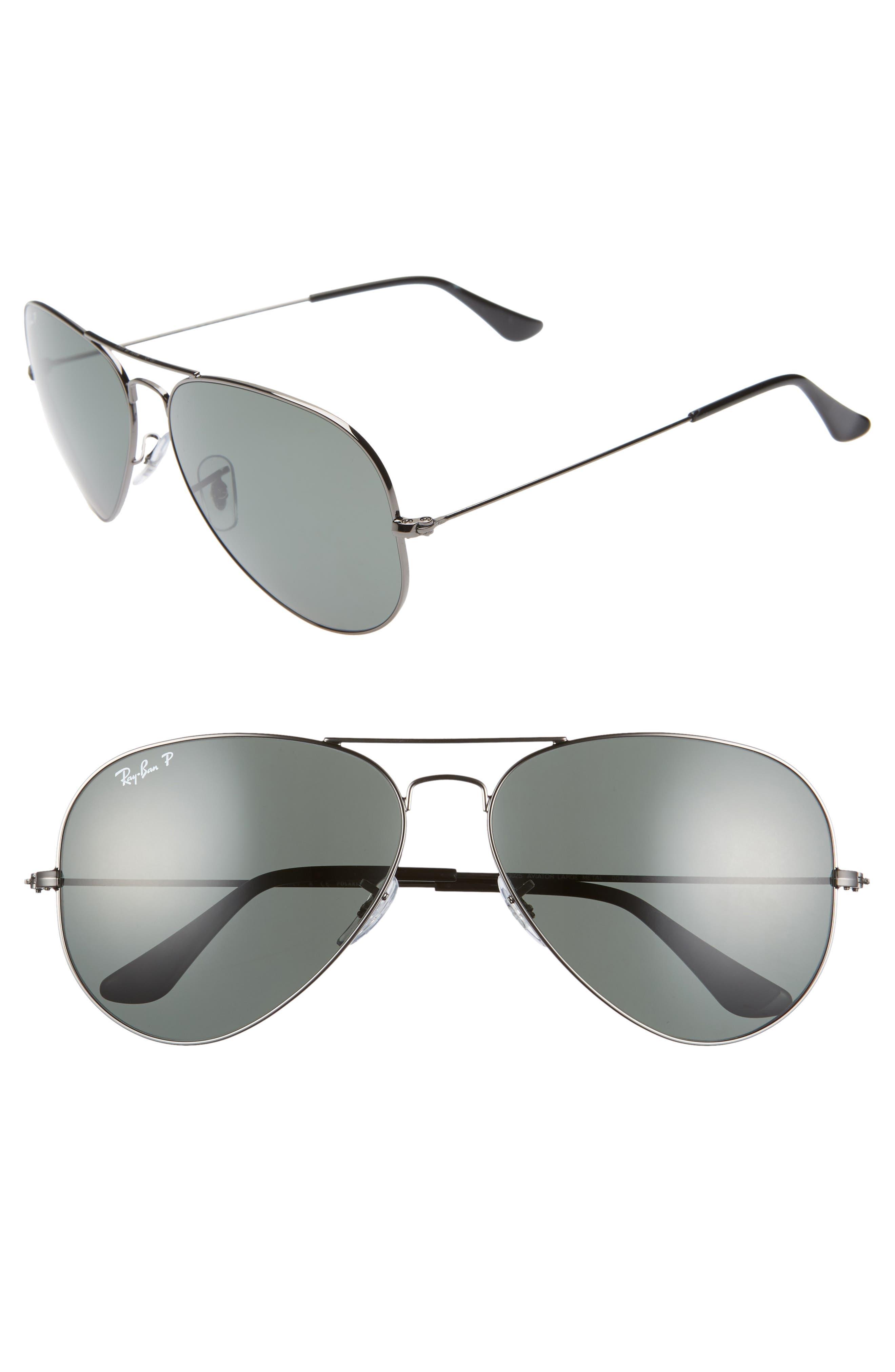 Ray-Ban Original 62Mm Oversize Polarized Aviator Sunglasses -