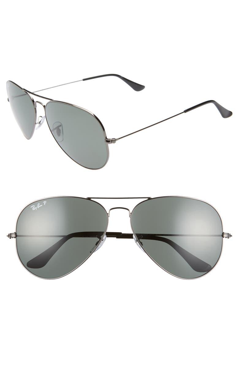RAY-BAN Original 62mm Oversize Polarized Aviator Sunglasses, Main, color, 020