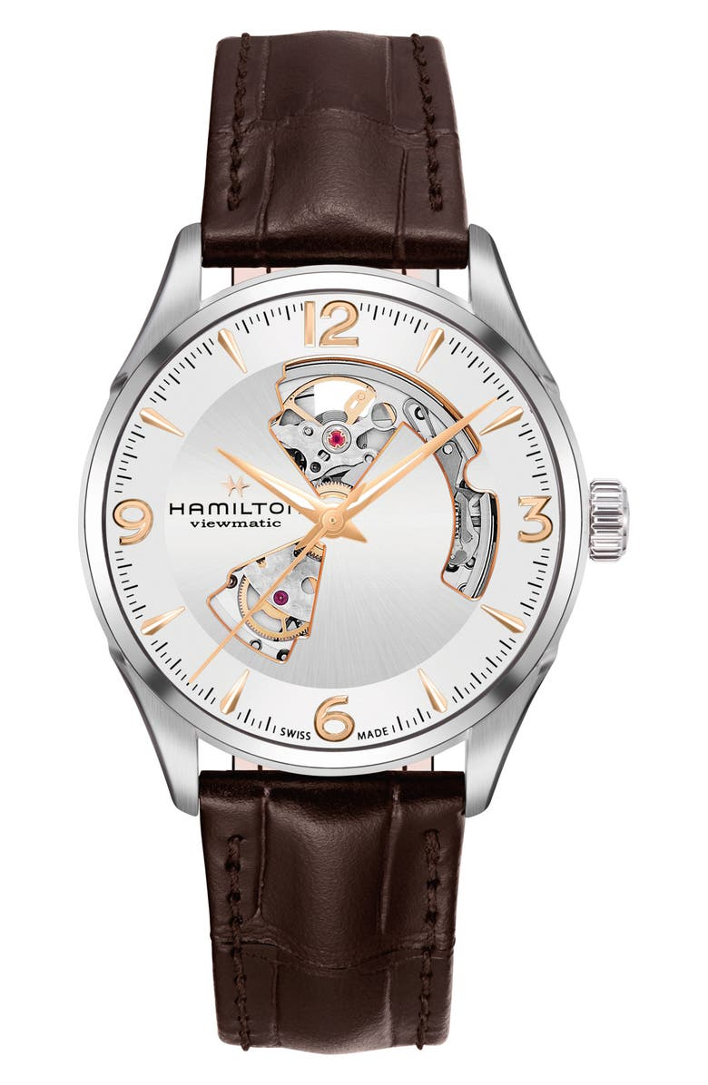 HAMILTON Jazzmaster Open Heart Automatic Leather Strap Watch, 42mm, Main, color, BROWN/ SILVER