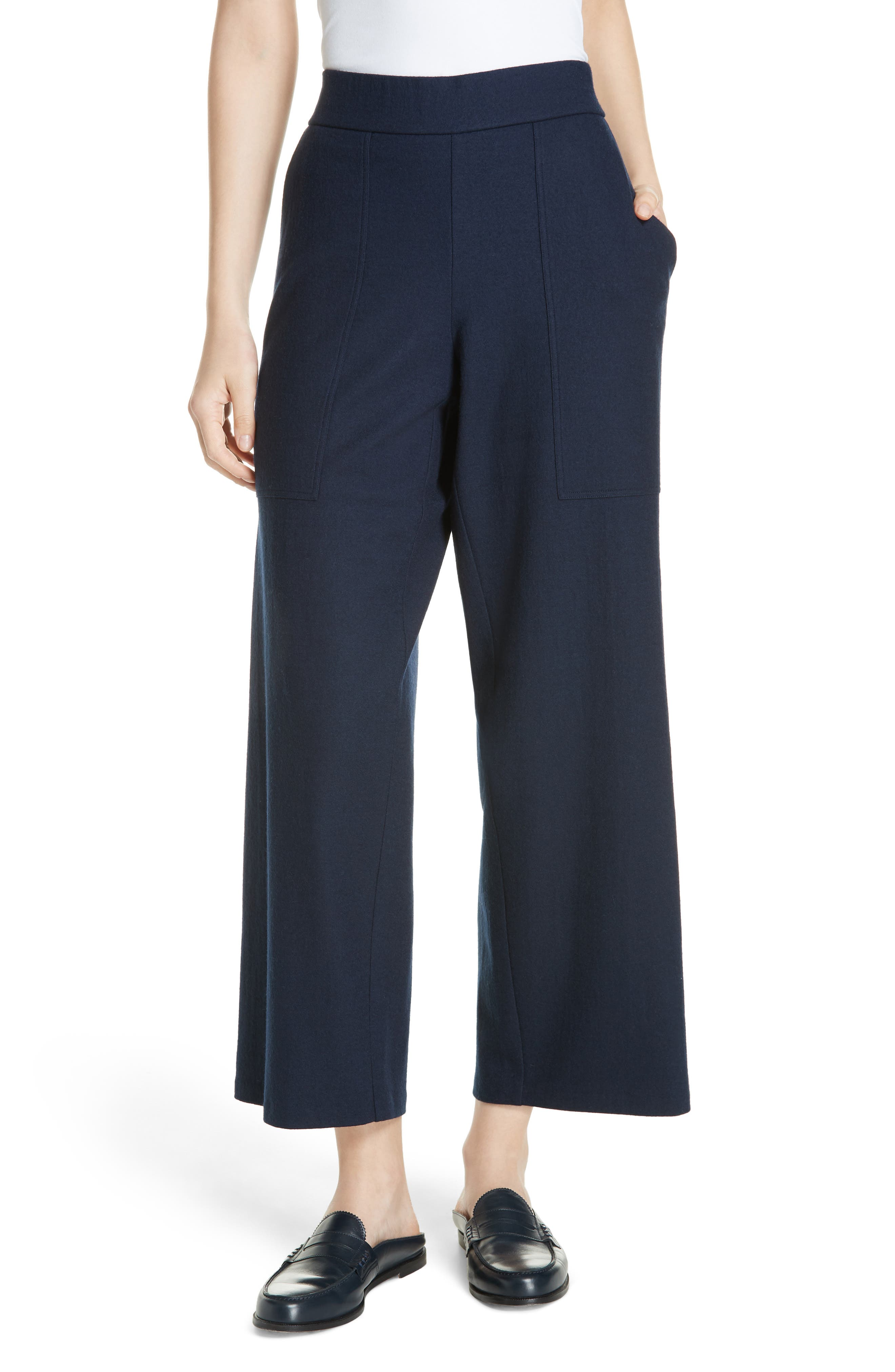 women's eileen fisher wool ankle pants, size small - blue